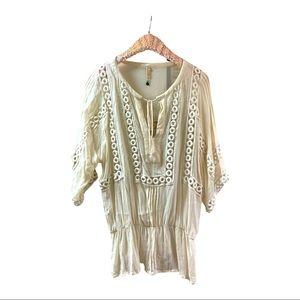 Anthropologie Peace & Pearls oversized sheer top